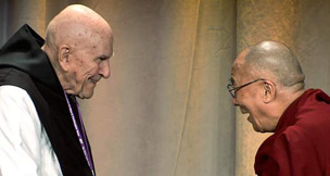 Father Thomas Keating with Dalai Lama Tenzin Gyatso, as seen in this film.